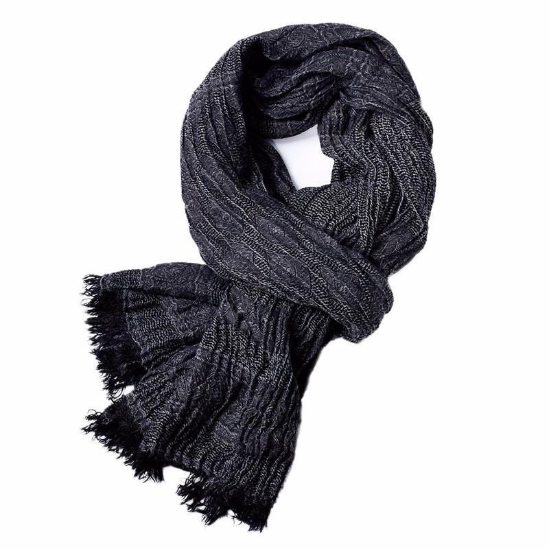 Fashion Europe and America Yarn Dye Winter Warm Twill Scarf Men Artificial Cotton Solid Color Tassels Decoration Neckerchief