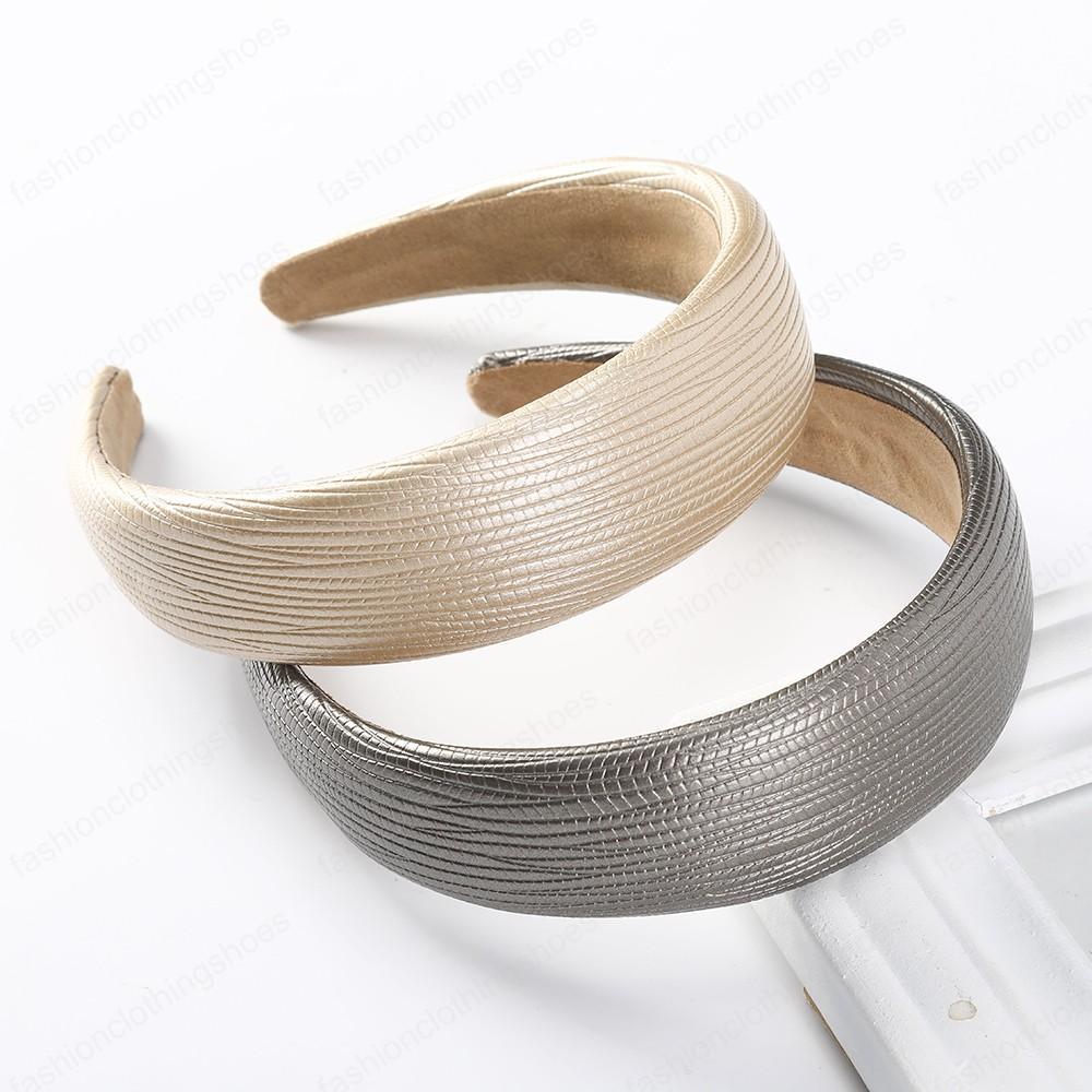 Simple imitación de la venda Headwear color sólido del bisel cabeza del aro Mujeres Accesorios para el cabello elegante ancha Hairbands Moda