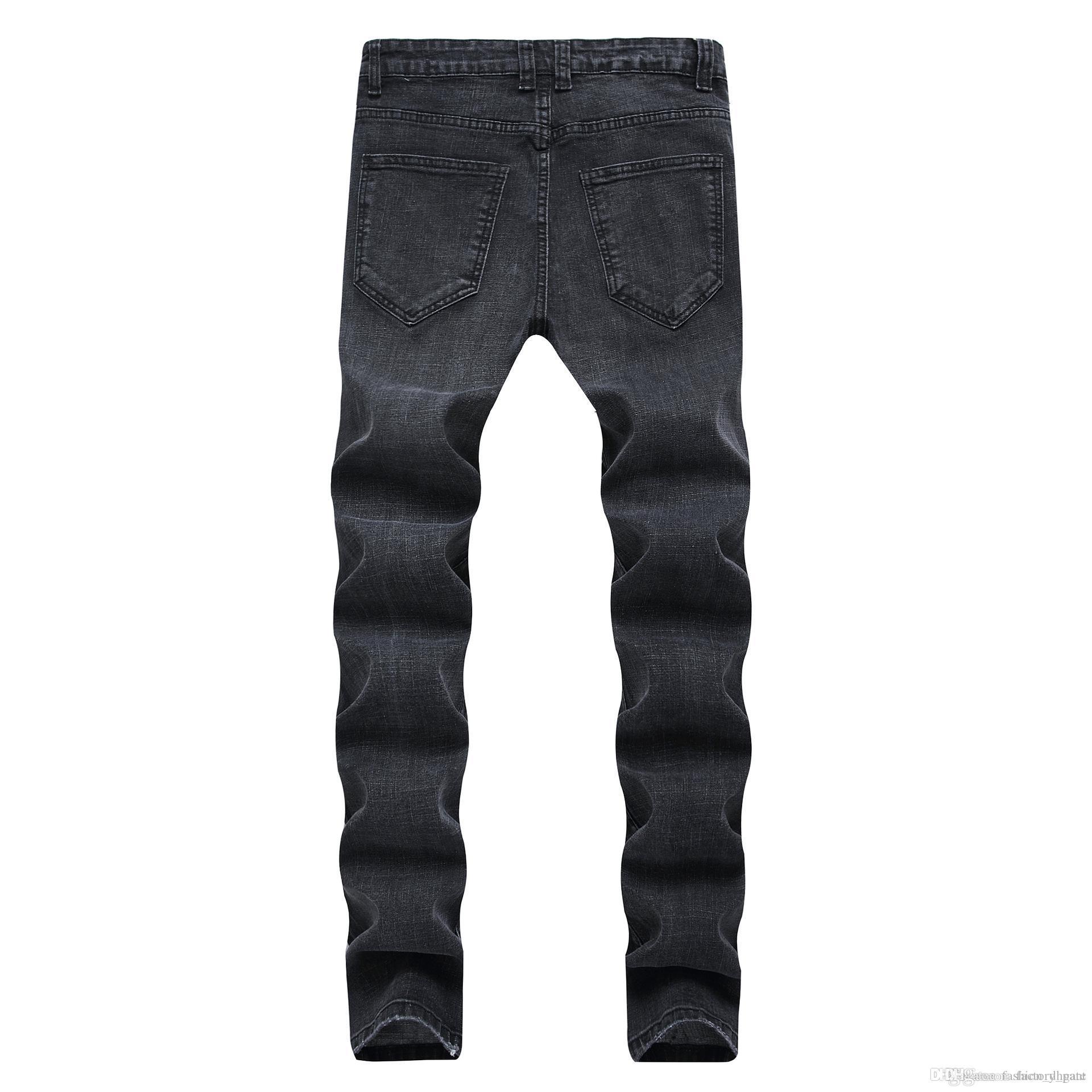 Black Men Jeans Vêtements New Slim Fit Arrivée stretch Jeans Ripped Jeans en détresse Street Fashion Hommes Denim Pantalons 28-42 Dropshipping