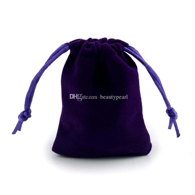 الأرجواني لينة القطيفة المخملية الحقيبة هدية للمجوهرات حزمة حقيبة الرباط مختلفة الحجم بالجملة 100 قطعة