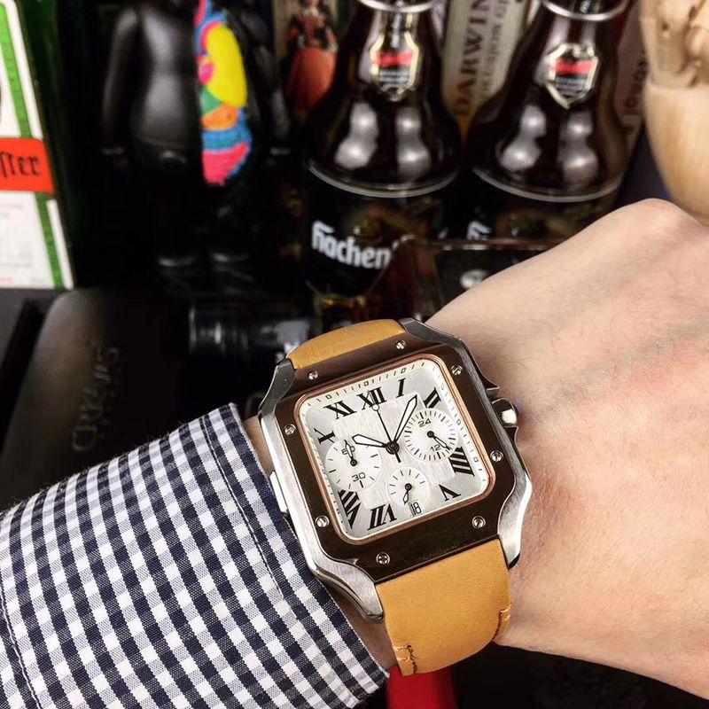 Edição limitada Quartz vk Fuction Movimento completa 100 White Dial Men Watch pulseira de couro cristal de safira frete grátis