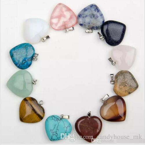 Novos homens da forma / mulheres enviar cores mistura de cores de colar de pedra natural pingente de colar de pingente em forma de coração