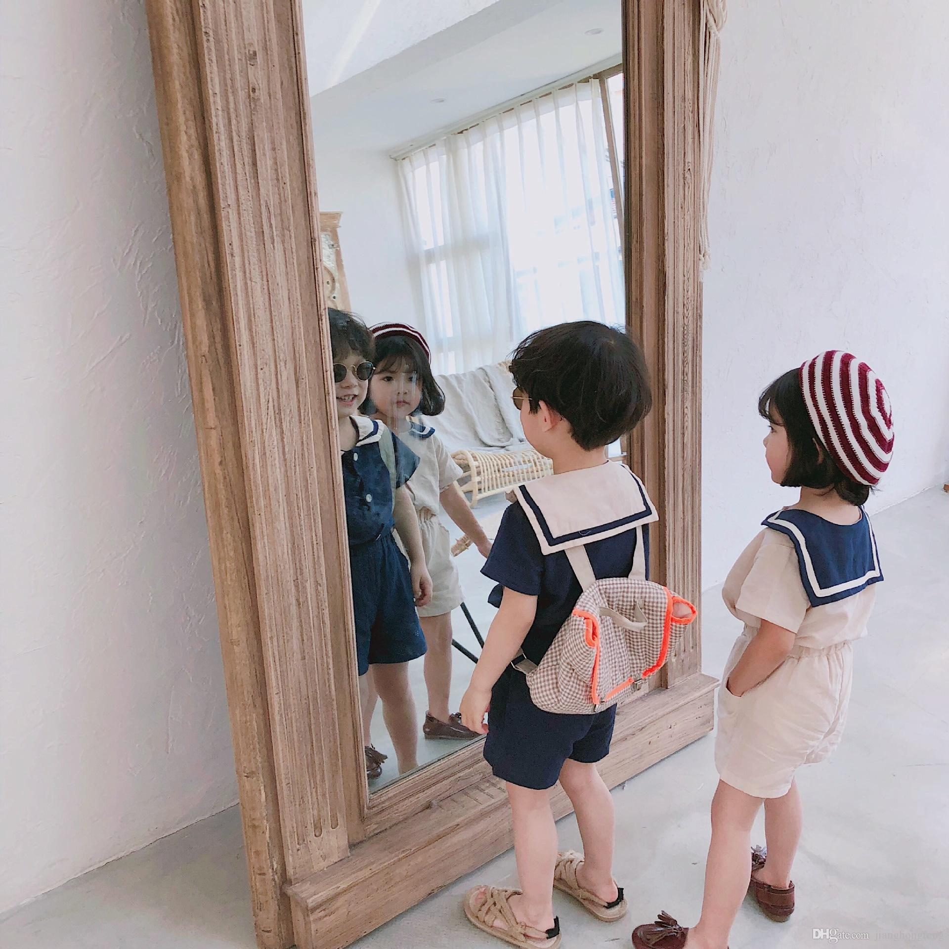 Vêtements de coton en coton marinière col coréen style été enfants définit les garçons mignons filles à manches courtes T-shirt + shorts costumes 2pcs
