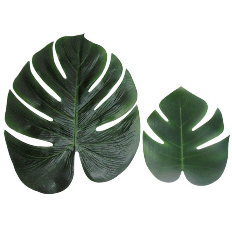 Simulation Turtle Back feuille en tissu de soie Ruban Faux Feuille Plante artificielle Décoration Artisanat Party Supplies 12PCS fête