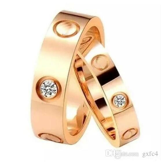 أعلى الفولاذ المقاوم للصدأ الحب الدائري 4 ملليمتر 6 ملليمتر الذهب روز الذهب والفضة خاتم الزواج للرجال النساء اللولبية الدائري
