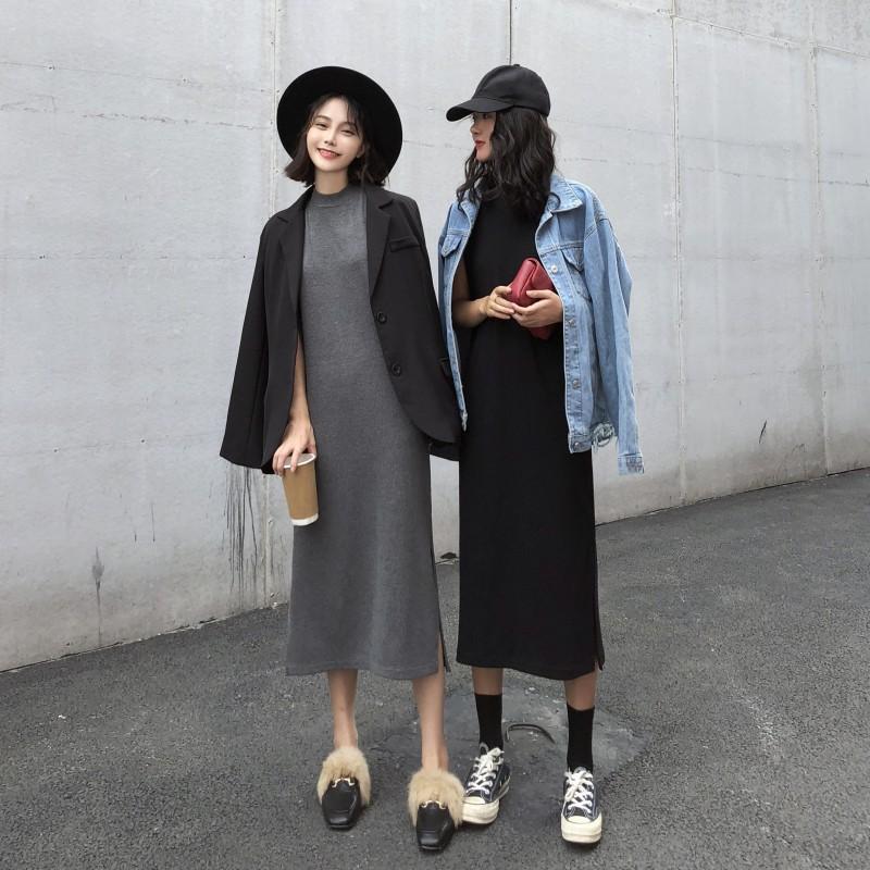 2020 İlkbahar Kore tarzı Yeni Stil Kadın Yuvarlak yaka Tank Yan Yarık Slim Fit Zayıflama Orta uzunlukta Elbise Moda