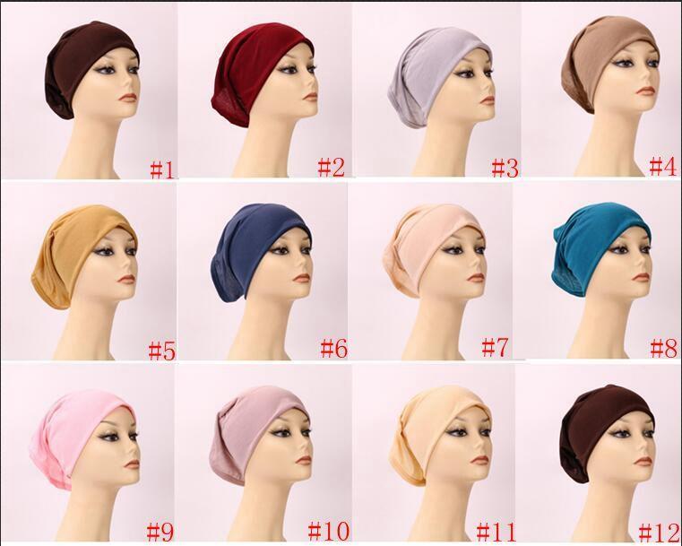 Мусульманская Женщина Внутреннего хиджаба платке Cap Исламской Модальный Underscarf Шляпа Hot Ninja шарф Рамазан Stretch Хлопок Bonnet Caps A772
