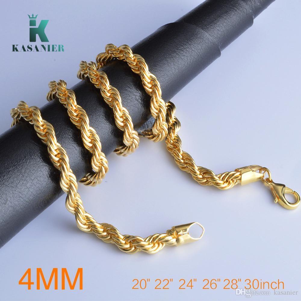 10pcs 20-30 Zoll in der Länge Für 4mm Breite klassischer Halskette Männer Halskette dünnen Seil Gold-und Silber-Kette Fashion