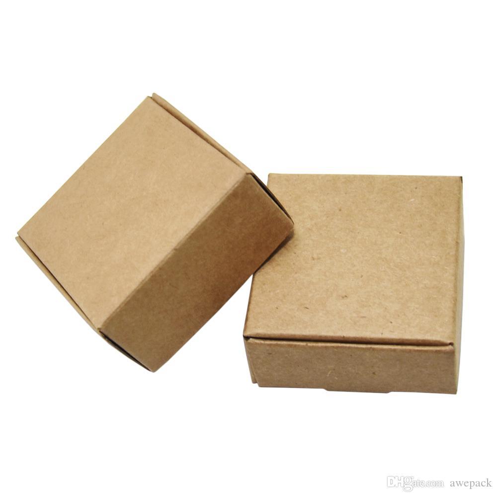 5.5 * 5.5 * 2.5cm Emballage Cadeau Brown Kraft Paper Box Petit Pliable Artisanat papier Boîtes Bonbons bijoux Emballage des produits en carton 50pcs / lot