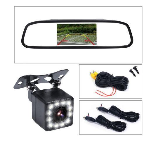 Factory direct 4.3 inch Car Rearview Mirror Monitor Auto Parking Vedio + LED Night Vision Backup Reverse Camera CCD Car Rear View Camera