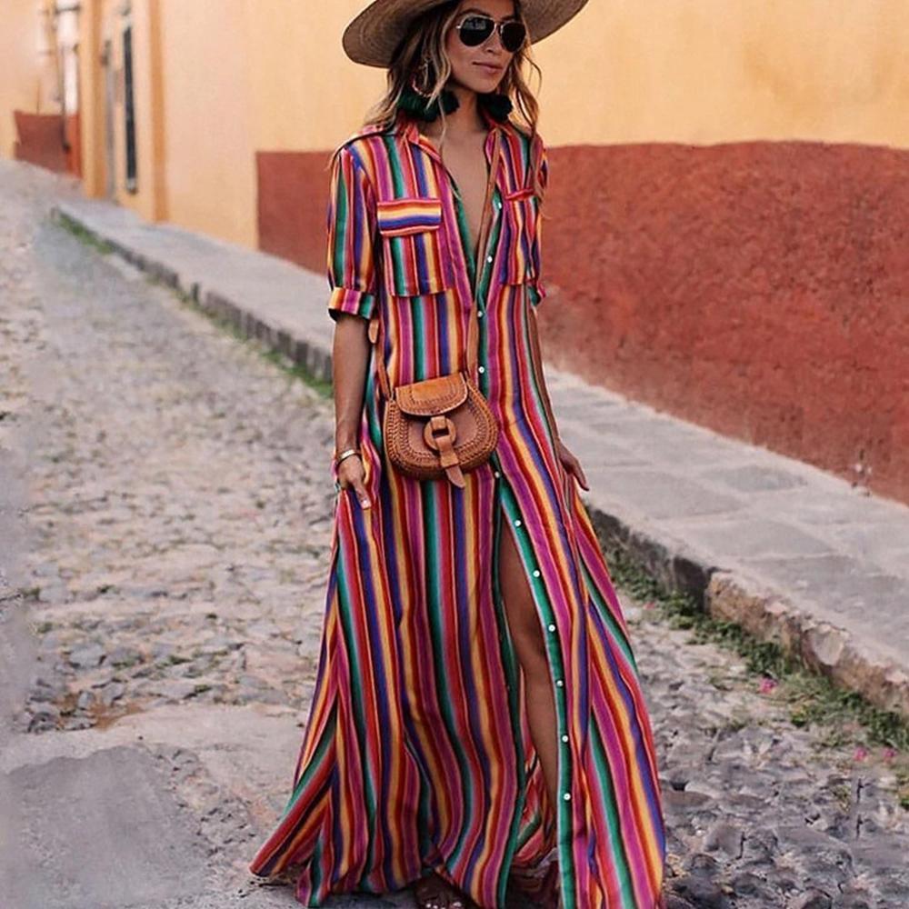 le tube imprimé rayé coloré des femmes de printemps and2020 été Bohême robe unique poitrine v-cou droit style de loisirs robe