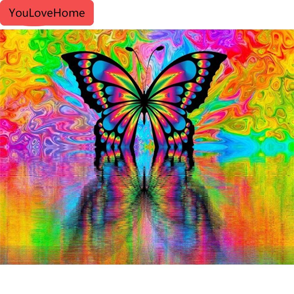Pintura al óleo por el número de animales de la mariposa Kits de lienzo de dibujo pintado a mano de la decoración del hogar de bricolaje Fotos Hecho a mano de pintura para colorear por número de