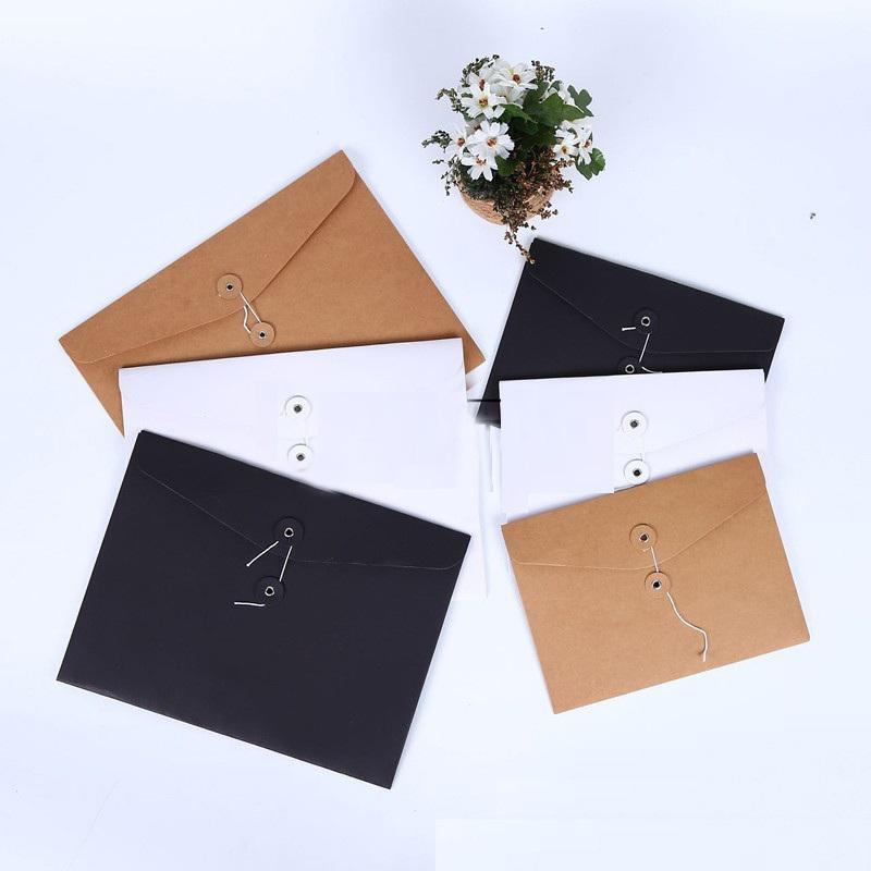 Brown Papel Kraft Documento A5 / A4 titular del archivo de almacenamiento de sobres de bolsillo bolsa con el bloqueo de cuerdas de almacenamiento de papelería bolsa