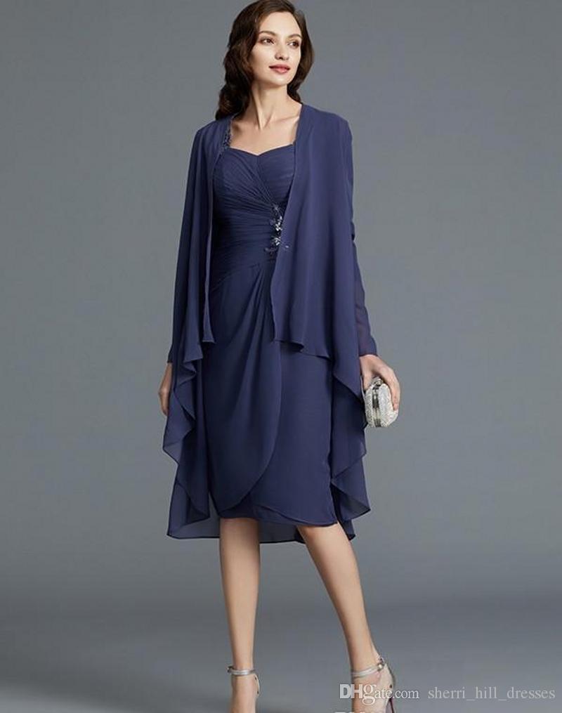 Fertigen Sie reizvollen Entwurf einer Linie knielangen Chiffon Mutter der Braut-Hose-Klagen langen Hülsen-Jacke Appliques Lace Ärmel Mutter Rock