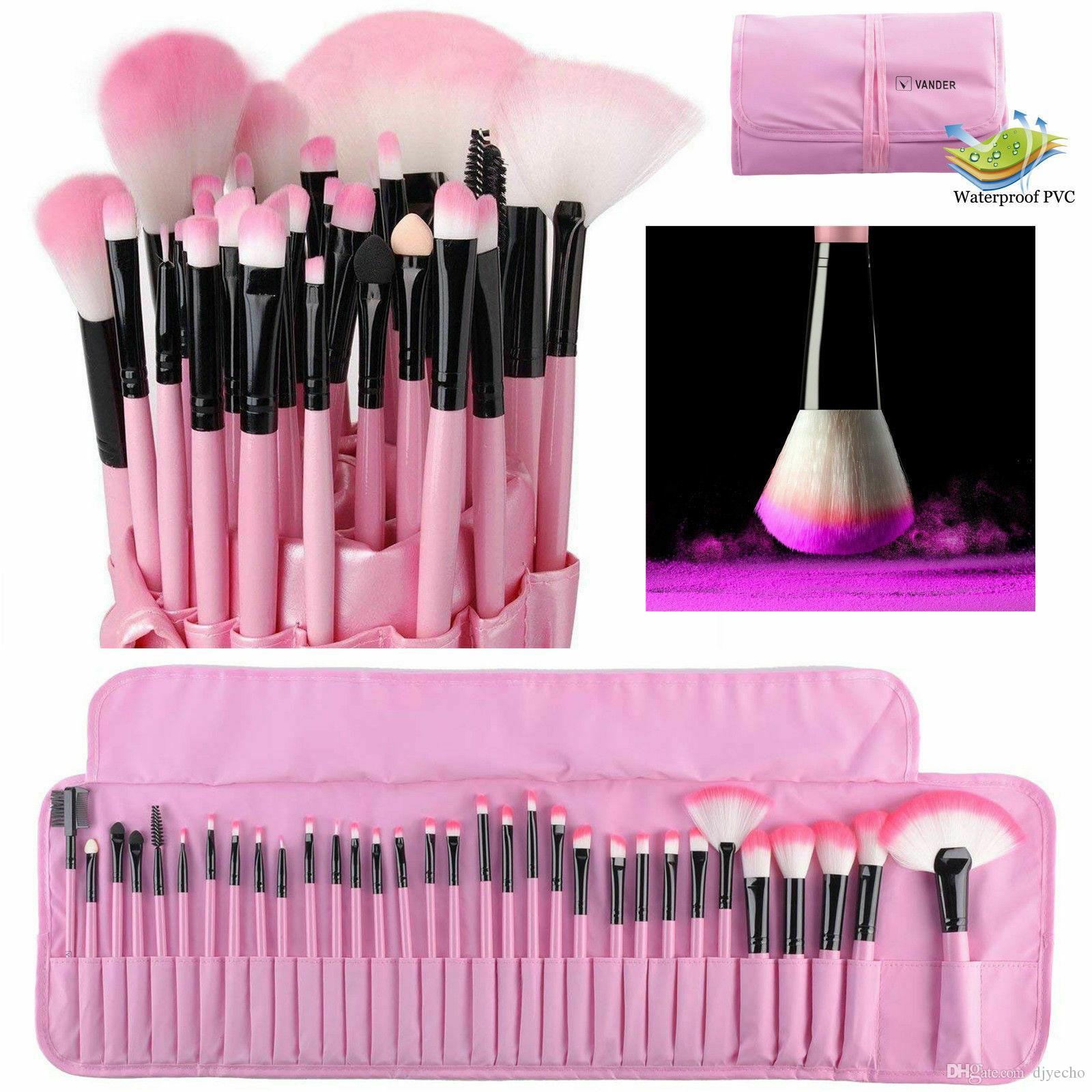 Moda 32 adet Makyaj Fırçalar Set Pembe Güzellik Şık Kozmetik Kaş Gölge Toz Pincel Makyaj Maquiagem Araçları + Kılıfı Çanta
