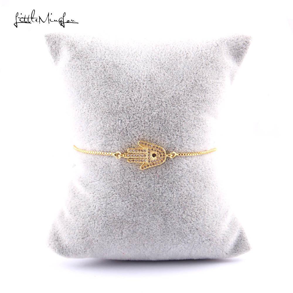 homens WML zircão branco charme Hamsa Fatima Mão link ajustável Cadeia homens pulseiras pulseiras para as mulheres de jóias