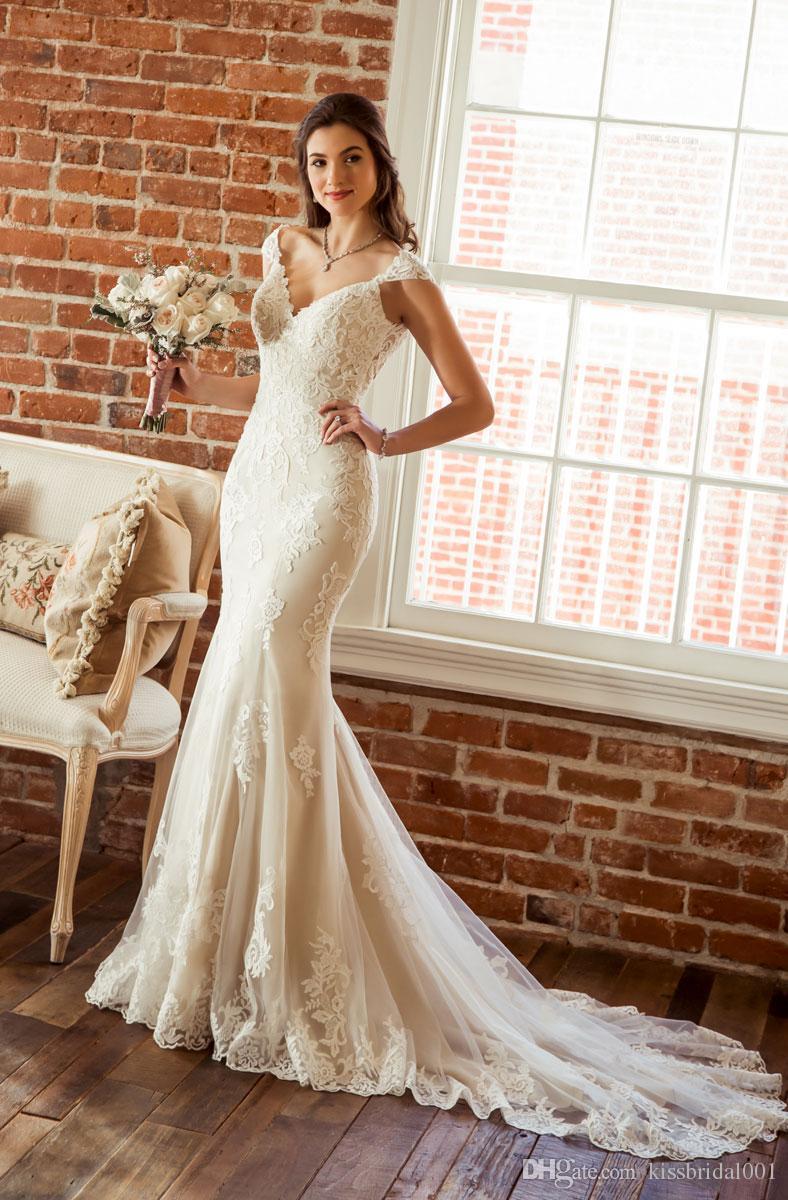 2019 Mermaid Wedding Dresses Sexy Deep V Neckline Open Back Cap Sleeve Lace Wedding Dress Bridal Gowns Vestido De Novia Lace Mermaid Wedding Dress