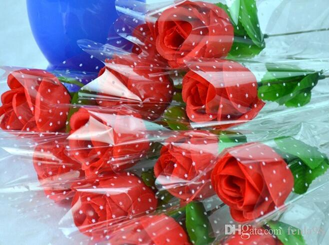 Simulazione fiore di seta singolo ramo regalo di promozione di San Valentino con il pacchetto rosa singola pesca ramo wl1094 rosa