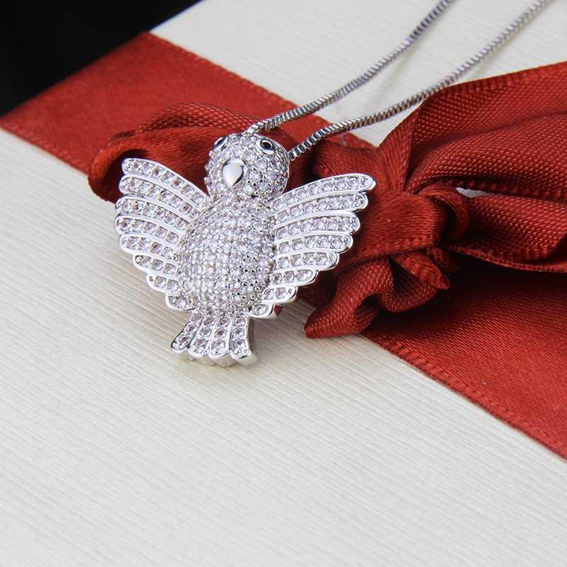 SUNSLL New gold/silver colour copper necklace white cubic zircon bird pendant for women fashion jewelry cute necklace gifts