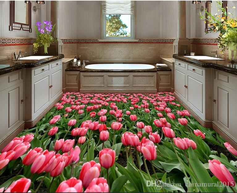 3D personalizada Suelo mural del papel pintado 3D piso hermoso tulipán Cuarto de baño 3D Mural piso impermeable de PVC vinilo autoadhesivo papel pintado Home Decor