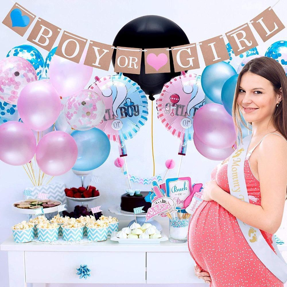 64pcs/lot Gender Reveal Balloon Party Supplies 36 Inch Gender Reveal Boy or Girl Banner Confetti Foil Balloon Baby Shower Decoration Set