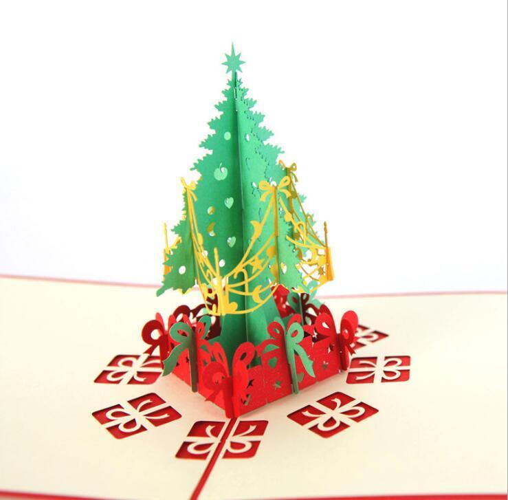 Nueva Eco-Friendly Tarjetas de felicitación de Navidad hecha a mano 3D Pop Up Tarjetas de Invitación Tarjetas de regalo de Navidad Tarjeta de regalo de papel del partido tarjeta de regalo de vacaciones