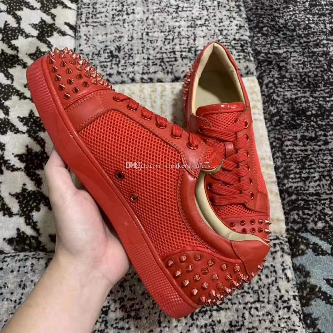 Nuevo Red Mix 2019 Studs Spikes Toe Zapatillas de deporte con fondo rojo Zapatos Hombres Mujeres Elegante Vestido de novia de fiesta Ocio Caminar Malla Pisos