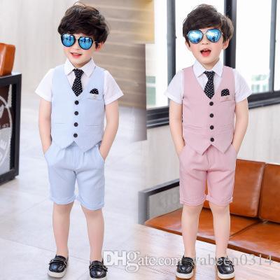Nouvelle robe de costume de garçon d'été européen / en stock Explosif costume de costume trois pièces rose bleu ciel garçon / dans le magasin pour choisir plus de styles
