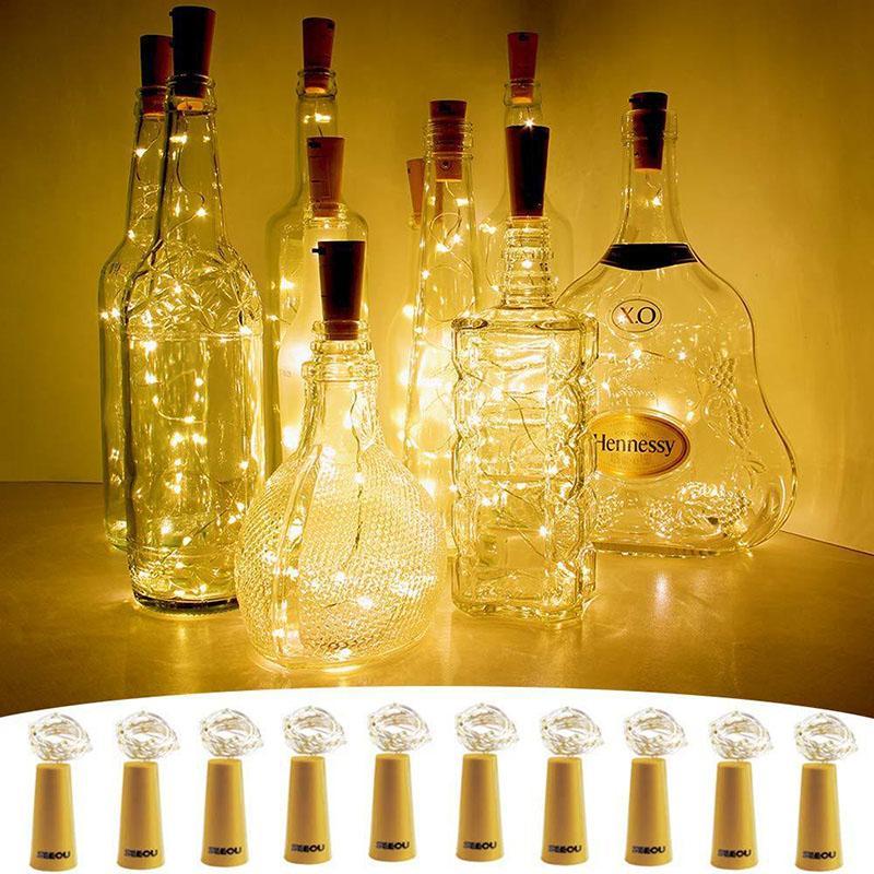 병 조명 크리스마스 / 파티 장식 LED 가제트 코르크 모양 1m 10 LED 와인 병 문자열 파티 Corks 모양의 실버 와이어 별이 빛나는 분위기 빛