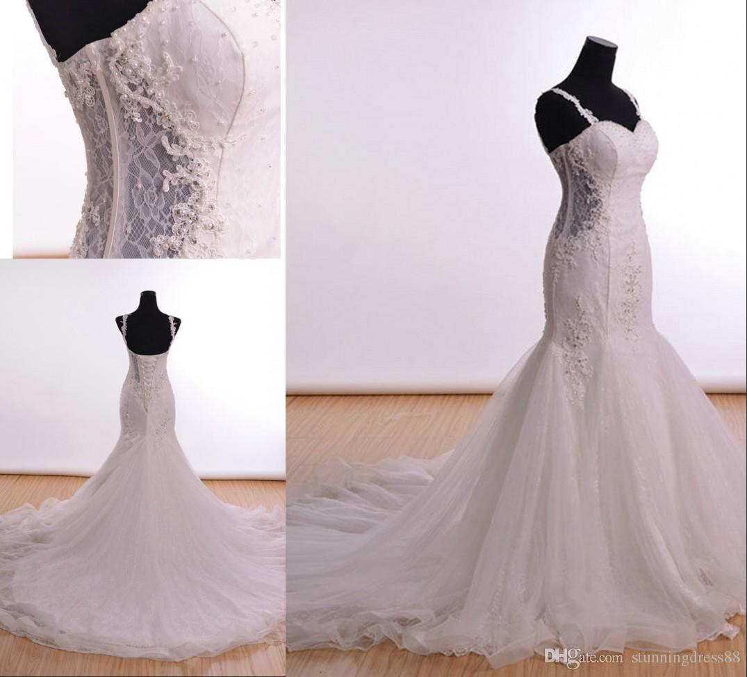 Sexy Cut-away waist Mermaid Wedding Dresses with Spaghetti Straps Lace Sequins Tulle Court Train Long Cheap Wedding Dress Bridal Gowns Cheap