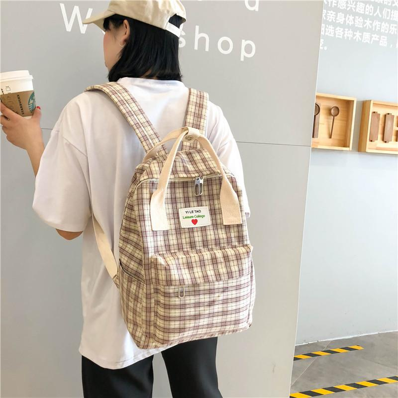 Amazing2019 Shoulders Both Package Woman Mori Concise Joker Leisure Time Canvas Travel Backpack Lattice Campus Student A Bag