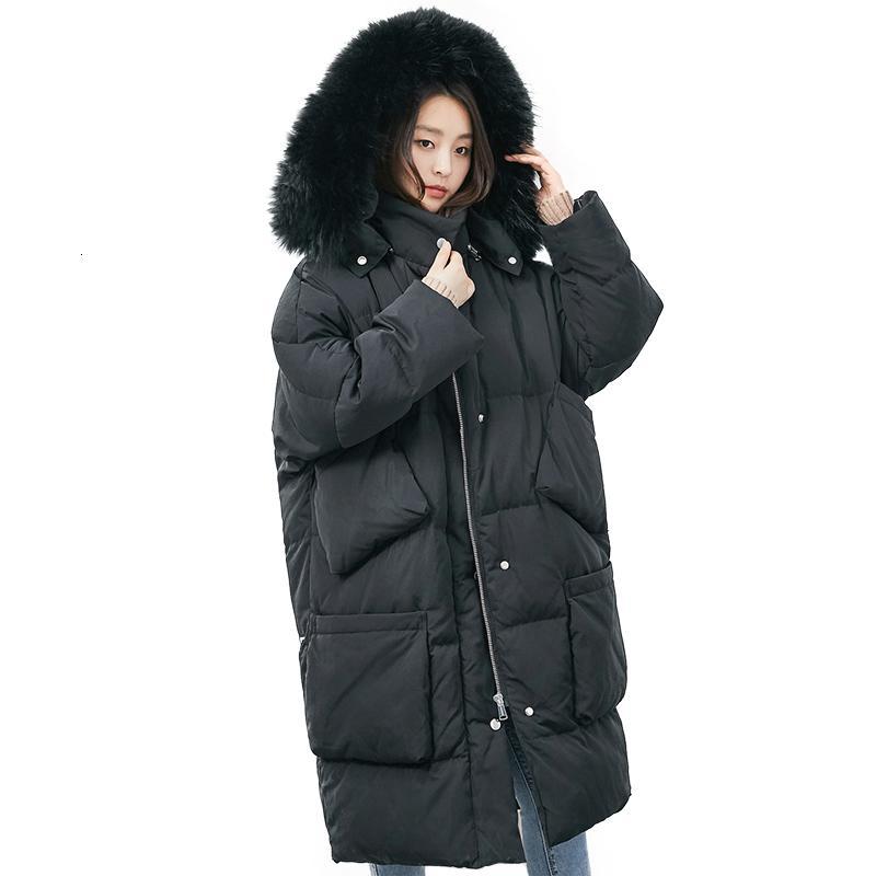 Giacca invernale donne Bianco anatra Down Jacket Big Raccoon collo di pelliccia Outwear il cappotto antivento allentato spessore caldo giù lungo Parka T191024