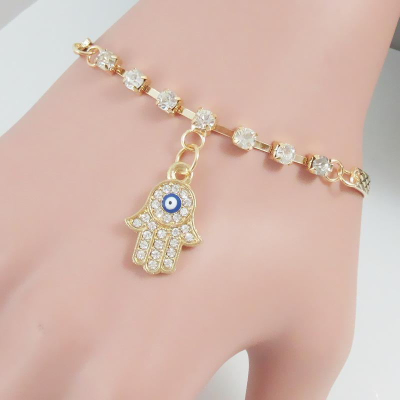 Charms Bracelets & Bangles Stunning Gold Simple jewelry Crystal Rhinestone Evil Eye Hamsa bracelet