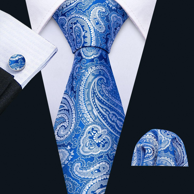 سريع الشحن الرجال الحرير التعادل مجموعة الأزياء الأزرق بيزلي بالجملة الكلاسيكية المنسوجة ربطة العنق جيب سكوير أزرار أكمام الأعمال الزفاف N-5147