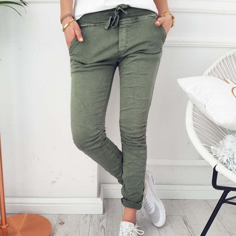 Automne Casual Crayon Noir Gris élastique Pantalons Automne 2018 Printemps stretch Pantalons pour femmes Skinny Slim dames de poche Pantalon Femme T191003