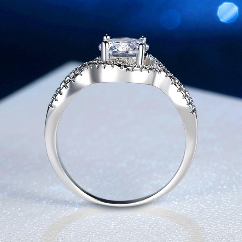 JZ064 simulação anel de diamante feminino torção braço forma um grande anel de diamante de casamento nupcial coreano imitação de amora de pedra