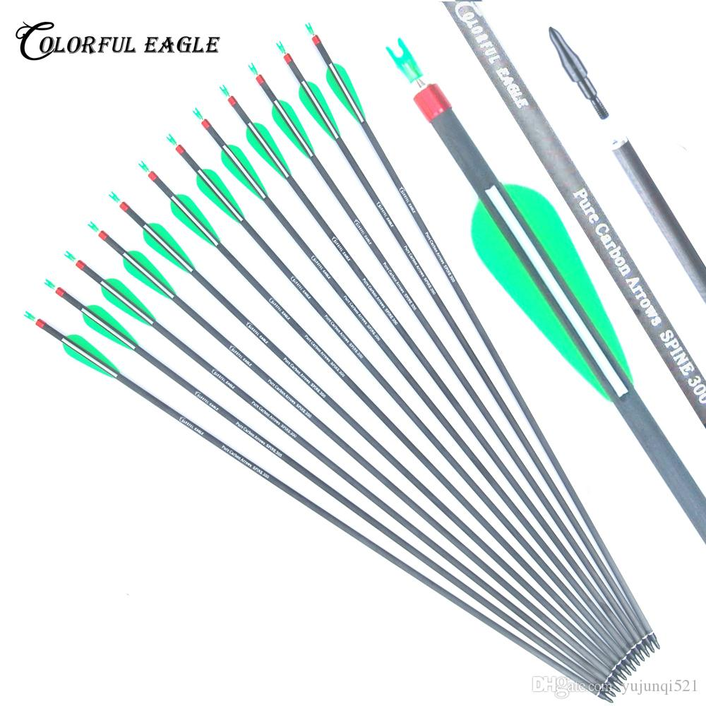 "Carbon Arrows 28/""//30/""31/"" Spine 300//400 Archery Hunting Arrows Shooting Practice"