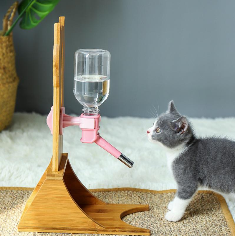 Wood Pet Water Dispenser Automatic Dog Cat Water Feeder With Frame Adjustable Height Stand Feeder Bottle Pet Drinking Fountain C19021301