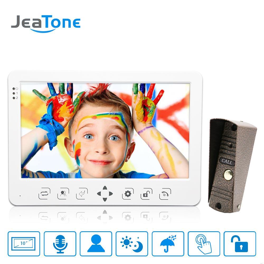 JeaTone 10-дюймовый ЖК-видео-телефон двери дверной звонок домофон сенсорный ключ монитор запись видео дверной звонок ночного видения 1200tvl сетноая-панели