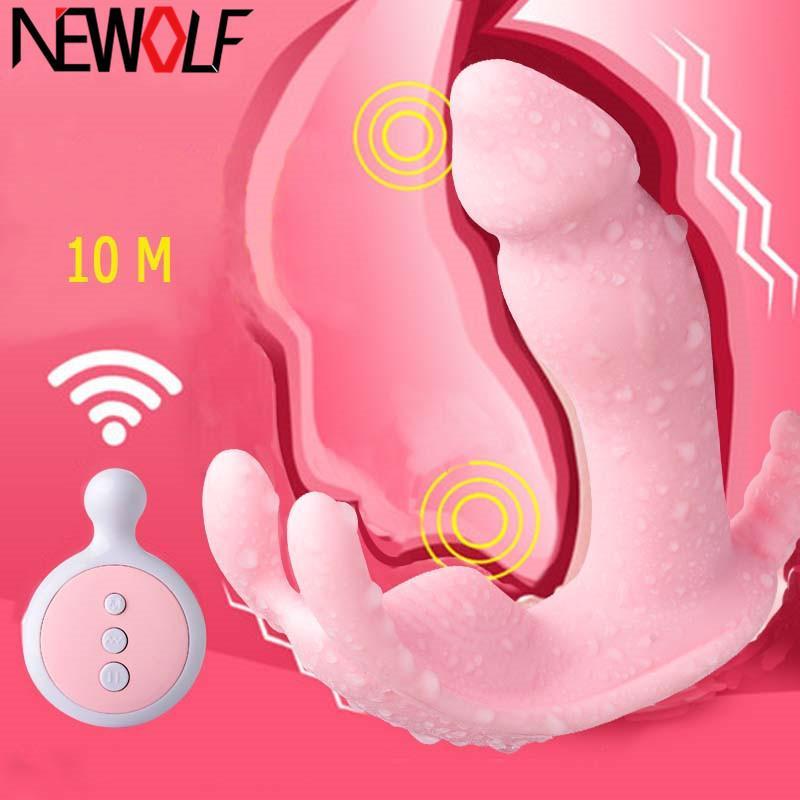 Wearable borboleta Dildo Vibrator Masturbator Clitóris Estimulador controle remoto sem fio Vibrador calcinhas Sex Toy por Mulheres Q33 Y200226