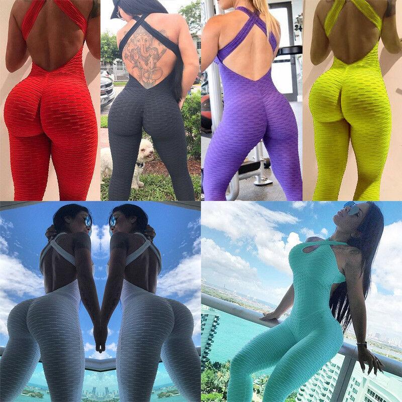 New Mulheres Moda Feminina Casual Verão Macacão Esportes Atléticos Workout Fitness Gym Sólidos mangas Jumpsuit