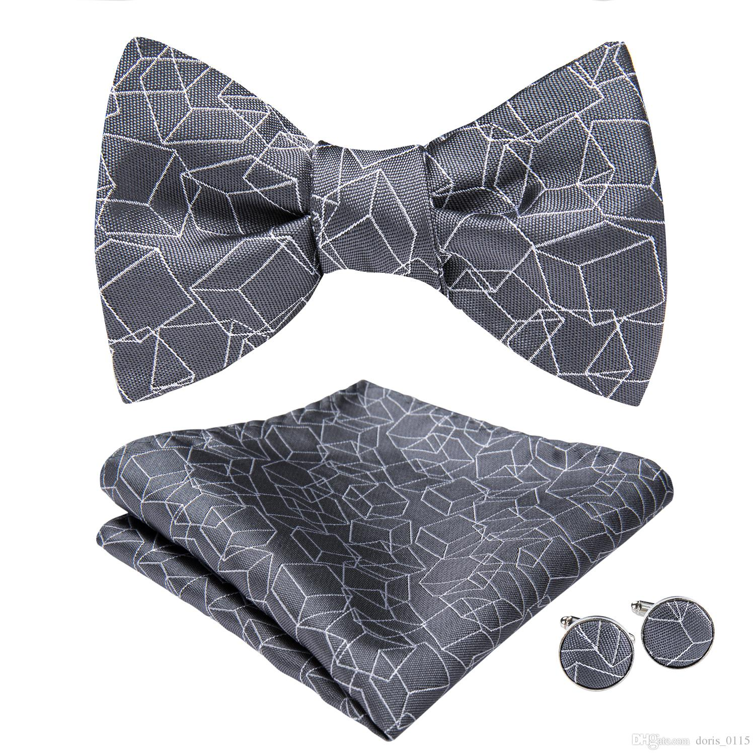 Hi-Tie Fashion Bowties Men Grey Geometric Male Marriage Butterfly Wedding Bow Ties With Handkerchief Cufflinks Freeing Shipping AL-068