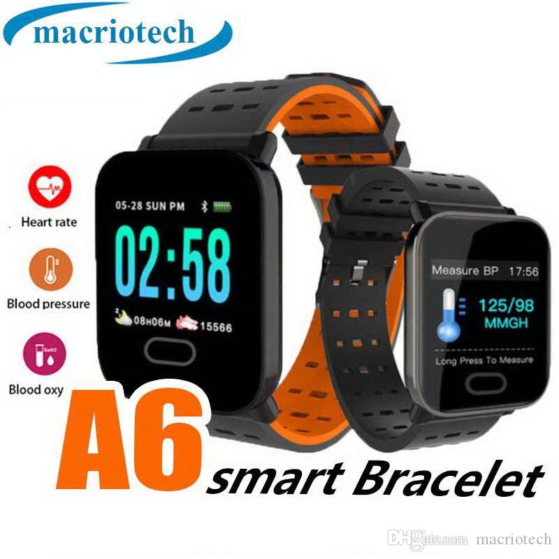 A6 Bluetooth Relógio Inteligente Monitor de Freqüência Cardíaca Atividade Rastreador Pulseira Pedômetro À Prova D 'Água Pulseira Inteligente Para Homens Mulheres Criança