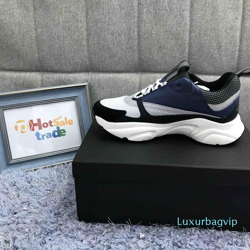 2020 новый стиль 3D дизайнеры темно-синий телячья кожа кроссовки Мужчины Женщины B22 Low Cut Повседневная обувь плоский холст кроссовки ретро Лоскутная роскошная обувь b0