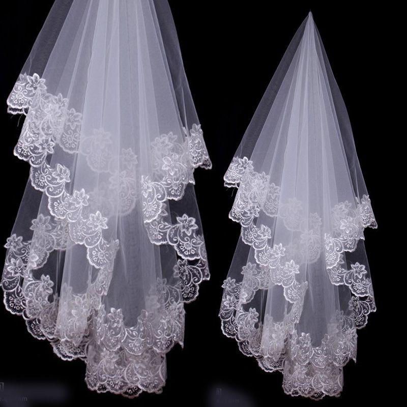2019 weiß Elfenbein Brautschleier Spitze Rand für Hochzeit billig Bridal Veils 1,5 Meter Brautzubehör