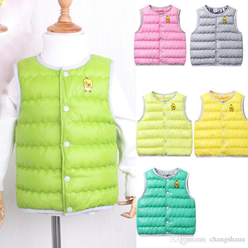 Sonbahar Kış Erkek Kız Yelek Ceket açık beyaz ördek aşağı yelek Çocuk Pamuk Yelek bebek Yelek Katı yelek çocuk