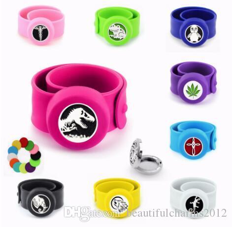 1 PCS Patte Libellule Grenouille Anti-Moustique Diffuseur Bracelet Bracelet S.S 25mm Médaillon Silicone Bracelet Gratuit 10p Pads Pour Enfants Femmes Hommes Cadeau