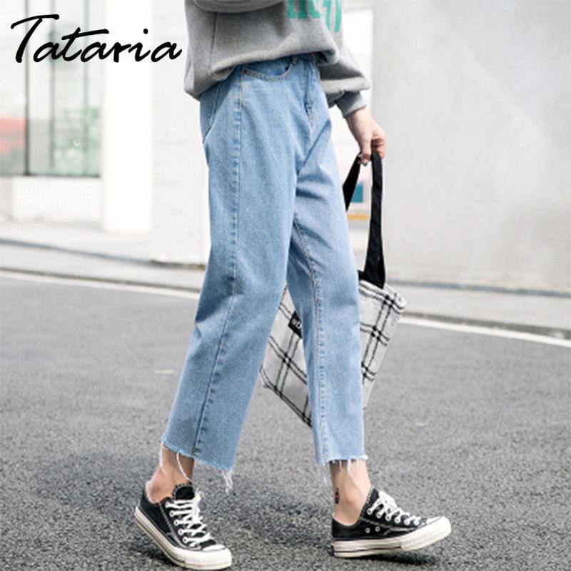 Tataria Boyfriend Jeans for Women High Waist Casual Loose Denim Harem Pants Female Ankle-length Jeans Pants Women Wide Leg