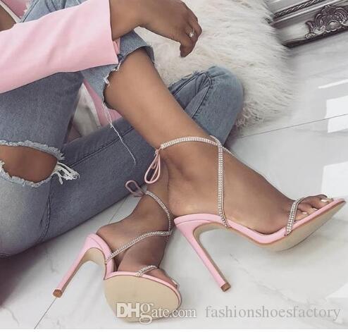 Patchwork Rhinestone High Heel Women Sandals Lace up Cross-tie Crystal Heel Sandals Women Sexy Women Sandals