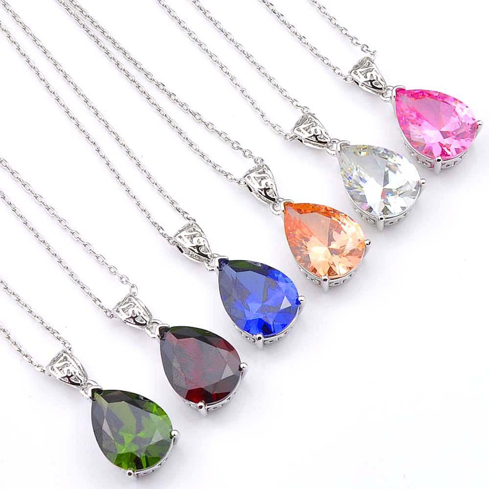 16 * 12 mm Wielu Wody Kropla Cyrkonia Wisiorki Dla Kobiet 925 Sterling Posrebrzany Modna Biżuteria Prezent Akcesoria